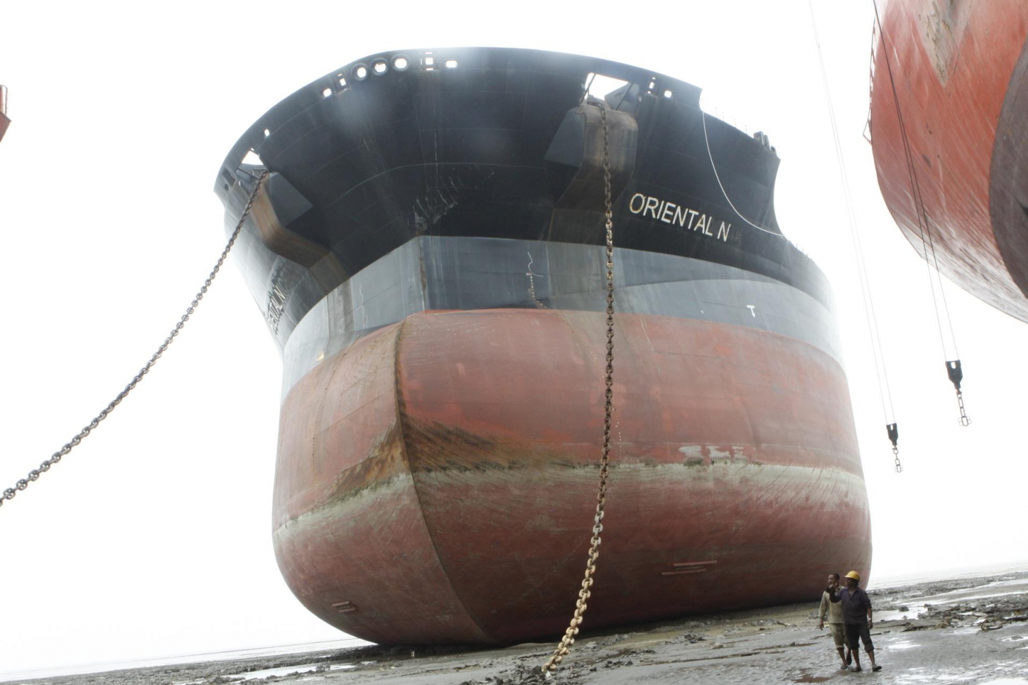 The Oriental N (a vessel that became notorious under the original name Exxon Valdez) ended up on one of the beach yards of Alang, India