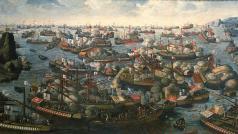 De Slag bij Lepanto van 1571 (N.N., National Maritiem Museum)