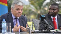 Minister van Buitenlandse Zaken Reynders op bezoek in Congo, augustus 2012.