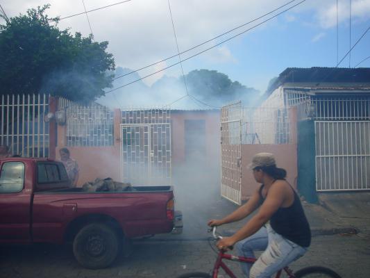 Fumigar in Barrio Larreynaga, Managua.
