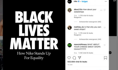 Printscreen van Nikes Instagrampagina